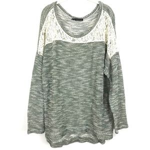 Maurice's knit pullover sweater top lace trim